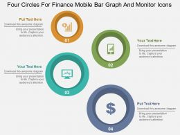 Four Circles For Finance Mobile Bar Graph And Monitor Icons Flat Powerpoint Design