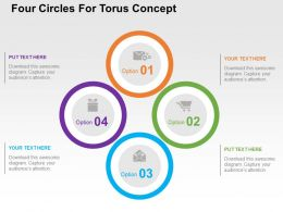 Four Circles For Torus Concept Flat Powerpoint Design