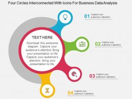 Four Circles Interconnected With Icons For Business Data Analysis Flat Powerpoint Design