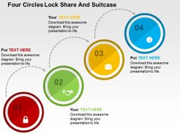 Four Circles Lock Share And Suitcase Flat Powerpoint Design