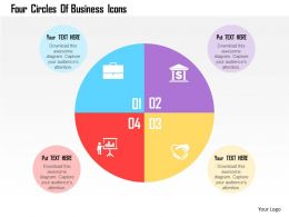 Four Circles Of Business Icons Flat Powerpoint Design