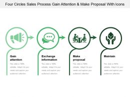 Four Circles Sales Process Gain Attention And Make Proposal With Icons