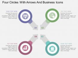 Four Circles With Arrows And Business Icons Flat Powerpoint Design
