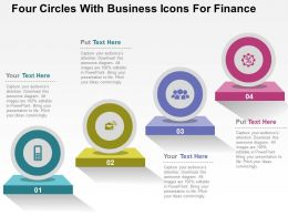 Four Circles With Business Icons For Finance Flat Powerpoint Design