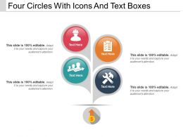 Four Circles With Icons And Text Boxes