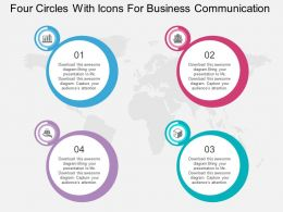 Four Circles With Icons For Business Communication Ppt Presentation Slides