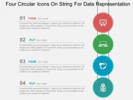 Four Circular Icons On String For Data Representation Flat Powerpoint Design