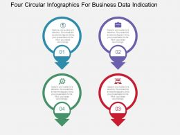 Four Circular Infographics For Business Data Indication Flat Powerpoint Design