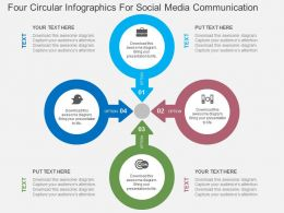 Four Circular Infographics For Social Media Communication Flat Powerpoint Design