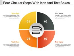 Four Circular Steps With Icon And Text Boxes