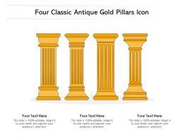Four Classic Antique Gold Pillars Icon