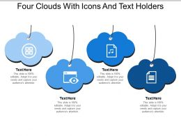 Four Clouds With Icons And Text Holders