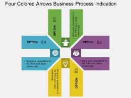 Four Colored Arrows Business Process Indication Flat Powerpoint Design