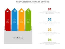 Four Colored Arrows In Envelop For Communication Strategy Powerpoint Slides