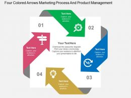 Four Colored Arrows Marketing Process And Product Management Flat Powerpoint Design