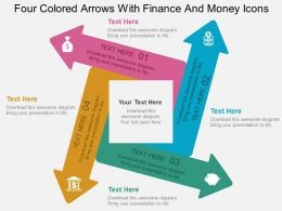 Four Colored Arrows With Finance And Money Icons Flat Powerpoint Design