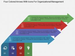 Four Colored Arrows With Icons For Organizational Management Flat Powerpoint Design