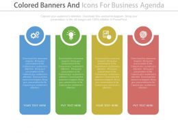 Four Colored Banners And Icons For Business Agenda Flat Powerpoint Design