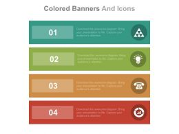 Four Colored Banners And Icons For Business Communication Flat Powerpoint Design