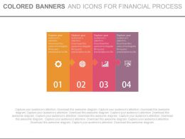 Four Colored Banners And Icons For Financial Process Powerpoint Slides