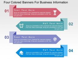 Four Colored Banners For Business Information Flat Powerpoint Design