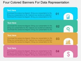 Four Colored Banners For Data Representation Flat Powerpoint Design