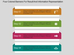 Four Colored Banners For Result And Information Representation Flat Powerpoint Desgin