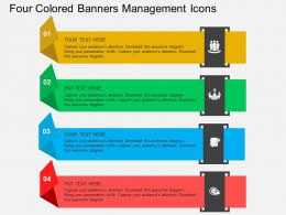 Four Colored Banners Management Icons Flat Powerpoint Design