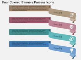 Four Colored Banners Process Icons Flat Powerpoint Design