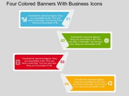 Four Colored Banners With Business Icons Flat Powerpoint Design