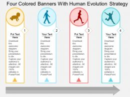 Four Colored Banners With Human Evolution Strategy Flat Powerpoint Design