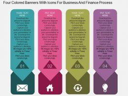 Four Colored Banners With Icons For Business And Finance Process Flat Powerpoint Desgin