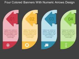 Four Colored Banners With Numeric Arrows Design Flat Powerpoint Design