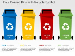 Four Colored Bins With Recycle Symbol Flat Powerpoint Design