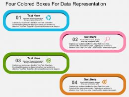 Four Colored Boxes For Data Representation Flat Powerpoint Design