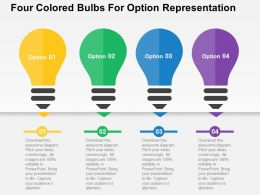 Four Colored Bulbs For Option Representation Flat Powerpoint Design
