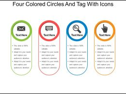 Four Colored Circles And Tag With Icons