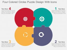 Four Colored Circles Puzzle Design With Icons Flat Powerpoint Design