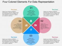 Four Colored Elements For Data Representation Flat Powerpoint Desgin