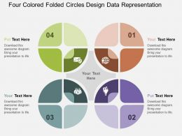 Four Colored Folded Circles Design Data Representation Flat Powerpoint Design