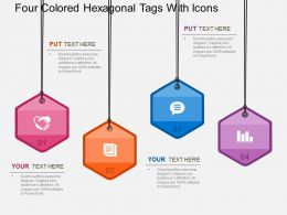 four_colored_hexagonal_tags_with_icons_flat_powerpoint_design_Slide01