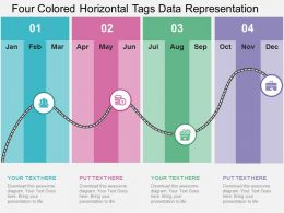 Four Colored Horizontal Tags Data Representation Flat Powerpoint Design