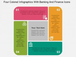 Four Colored Infographics With Banking And Finance Icons Flat Powerpoint Design