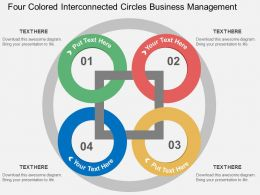 Four Colored Interconnected Circles Business Management Flat Powerpoint Design