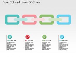 Four Colored Links Of Chain Flat Powerpoint Design