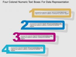 Four Colored Numeric Text Boxes For Data Representation Flat Powerpoint Design