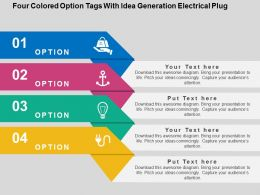 Four Colored Option Tags With Idea Generation Electrical Plug Flat Powerpoint Design