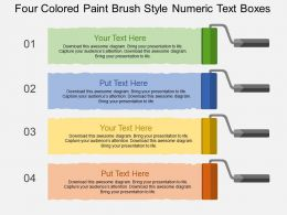 Four Colored Paint Brush Style Numeric Text Boxes Flat Powerpoint Design