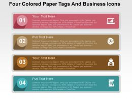 Four Colored Paper Tags And Business Icons Flat Powerpoint Design