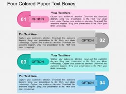 Four Colored Paper Text Boxes Flat Powerpoint Design